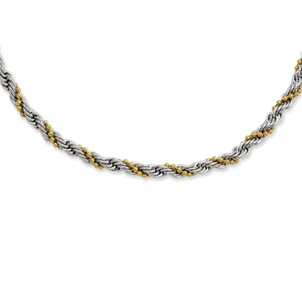 Stainless Steel Gold-plated Ball & Rope Twisted 20in Necklace (4 mm) - 20 in