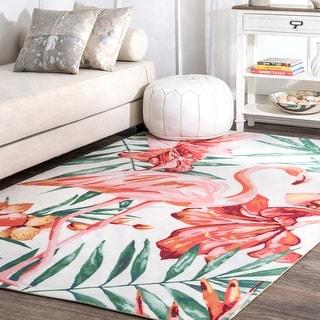 nuLOOM Multi Indoor/Outdoor Contemporary Tropical Majestic Palm Tree Flamingo Print Area Rug