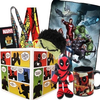 Superhero Gift Box with Avengers Fleece Blanket, Exclusive Groot Pin - multi