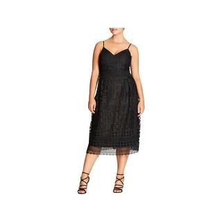 City Chic Womens Plus Cocktail Dress Sleeveless Midi