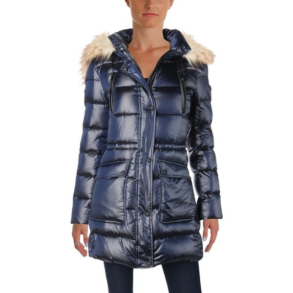 f1b4d4cfb3 Shop Calvin Klein Womens Puffer Coat Winter Faux Fur Hood - Free ...