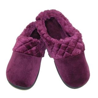 Dearfoams Women's Velour Clog Slipper with Cuff and Memory Foam