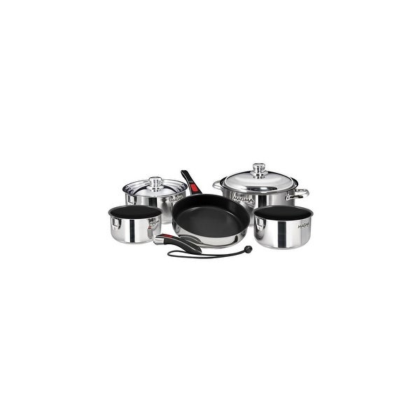 Magma Nesting 10-Piece Induction Compatible Cookware - Slate Black Ceramica Non-Stick Interior Nesting 10-Piece Induction