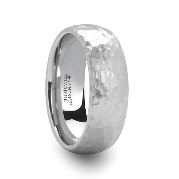 THORSTEN - CHANDLER Domed Hammered Finish White Tungsten Ring