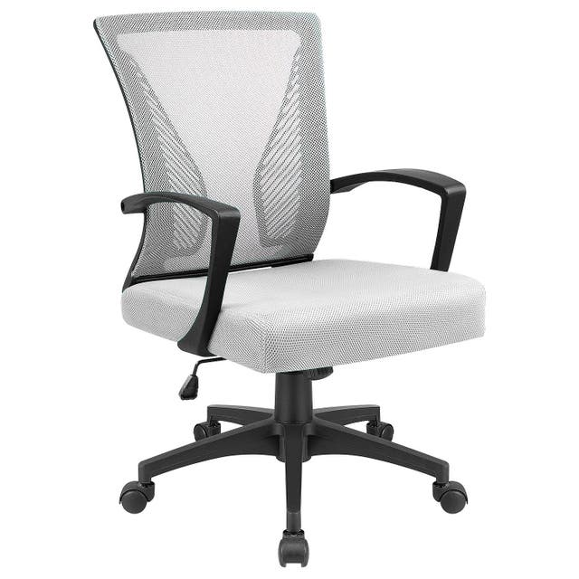 Office Chair Mid Back Swivel Lumbar Support Desk Chair, Computer Ergonomic Mesh Chair with Armrest - White