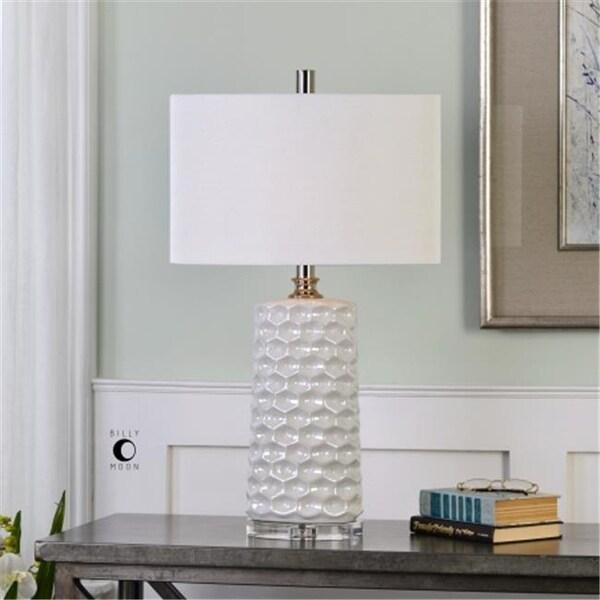 Uttermost 27142 1 Sesia White Honeycomb Table Lamp