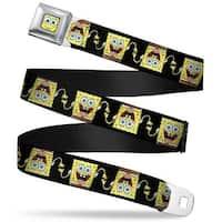 Sponge Bob Face Close Up Sponge Bob 3 D Pose Flip Black Webbing Seatbelt Seatbelt Belt