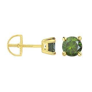 Prism Jewel 2 80mm 0 16ct Round Cut Green Color Diamond Back Stud Earring