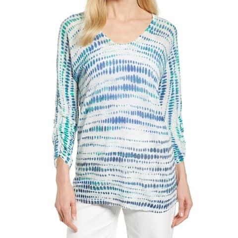 NIC+ZOE Blue Women's Size Medium M 3/4 Sleeve Scoop Neck Top
