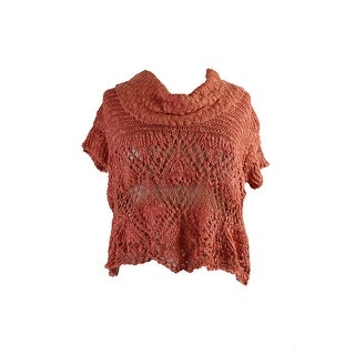 Free People Orange Eternal Delight Open-Stitch Cowl-Neck Pullover XS