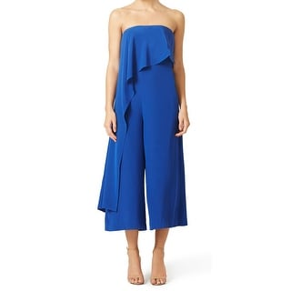 Tibi NEW Blue Women's Size 10 Asymmetrical-Layer Mera Jumpsuit Silk