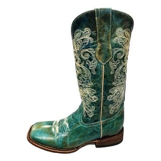 Ferrini Western Boots Womens Southern Charm Square Toe Turquoise