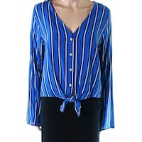 Polly Esther Blue White Womens Size Large L Striped Tie Hem Blouse