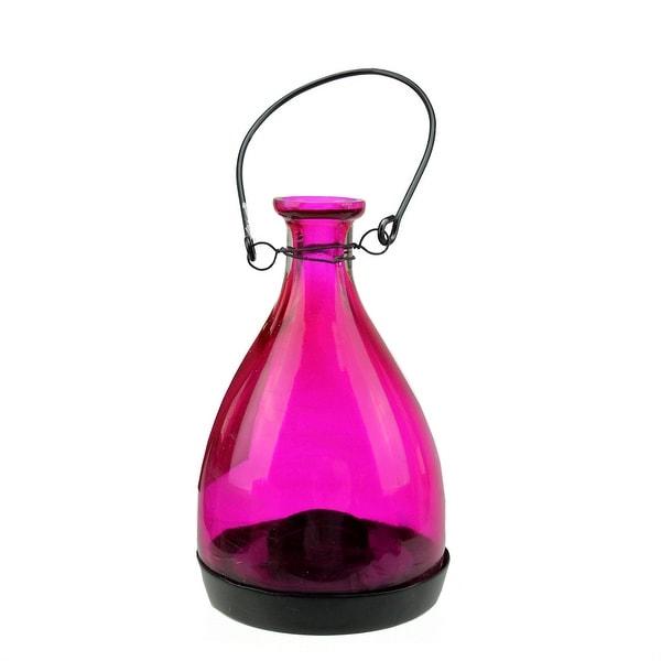 "6.25"" Transparent Pink Glass Bottle Tea Light Candle Lantern Decoration"
