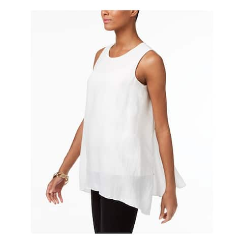 ALFANI Womens White Sleeveless Jewel Neck Handkerchief Top Size 14