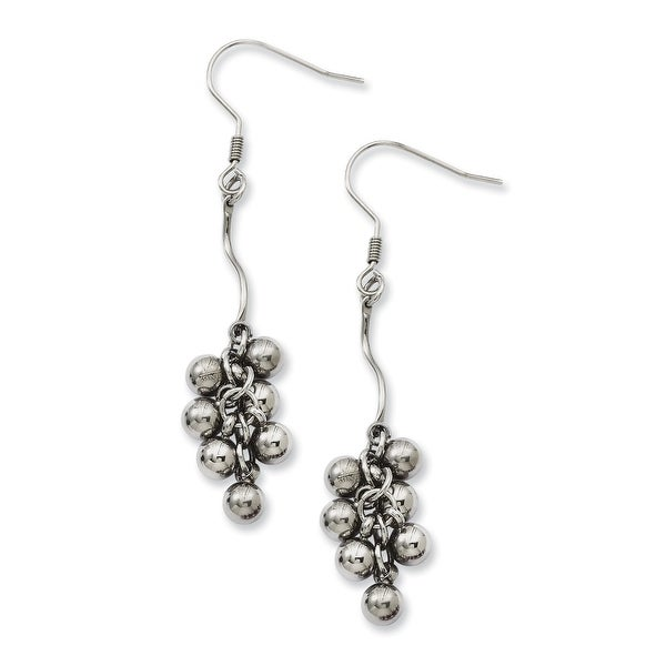 Chisel Stainless Steel Polished Beads Dangle Earrings