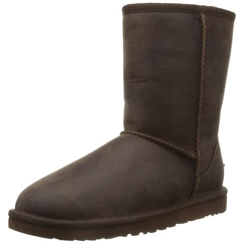Ugg Womens Classic Cuff Short Leather Round Toe Ankle Fashion Boots - 5