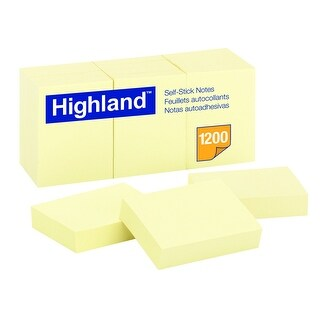 Highland Self-Stick Notes, 1-1/2 x 2 in, Yellow, Pad of 100 Sheets, Pack of 12