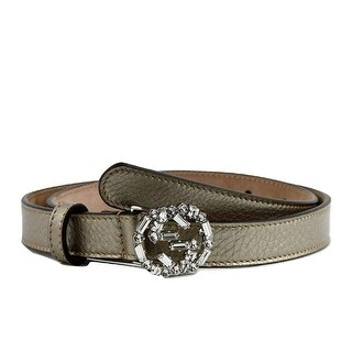 Gucci Women's Leather Interlocking Crystal G Skinny Belt 354380