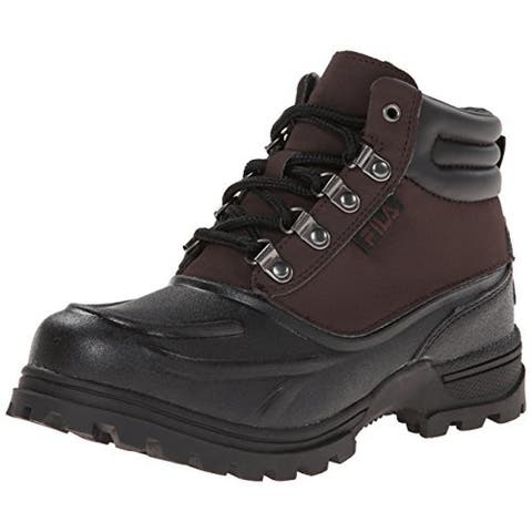 Fila Boys Weathertec Hiking Boots Water Resistant Cushioned Footbed - Espresso/Black/Black