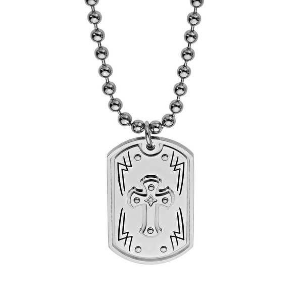 Black & Blue Men's Cross Dog Tag with Diamond in Stainless Steel