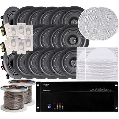 """8-room In-Ceiling 6.5"""" Speaker System, 8-Channel Amplifier, (16) 6.5"""" Speakers, 8 Volume Controls, 1000 FT Wire"""