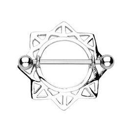 "Surgical Steel Triangle Entangle Star Nipple Shield Ring - 14GA 3/4"" Long (Sold Individually)"