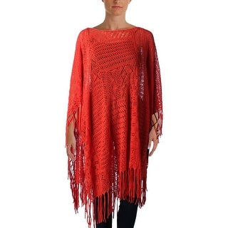 Lauren Ralph Lauren Womens Poncho Sweater Linen Blend Fringe