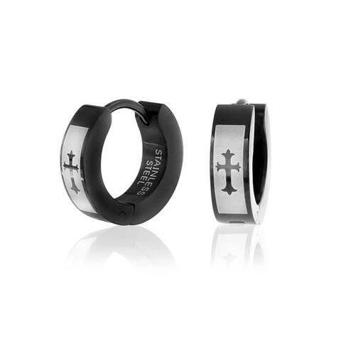 Laser Etched Fleur De Lis Cross Black Huggie Hoop Kpop Earrings For Men or Women Black IP Plated Stainless Steel