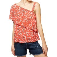 Sanctuary NEW Red White Womens Size Small S Floral-Print Knit Top