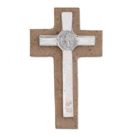 "Handmade Saint Benedict Pewter And Reclaimed Stone Wall Cross (Mexico) - 8.25"" H x 4.8"" W x 1.1"" D"