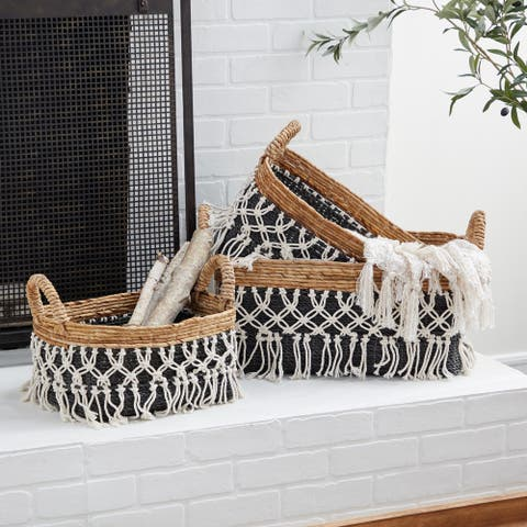 Black Cotton Natural Storage Basket (Set of 3) - 23 x 18 x 13
