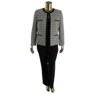 Tahari ASL Womens Sally Textured Collarless Pant Suit - 18