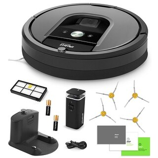iRobot Roomba 960 Vacuum Cleaning Robot + Dual Mode Virtual Wall Barriers + Extra HEPA Filter + 4 Extra Sidebrushes + More