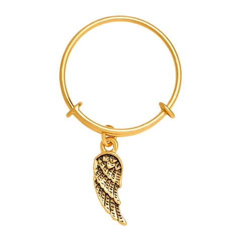 Chrysalis Charmed 14K Gold-Flashed Brass Expandable Guardian Angel Ring - Yellow