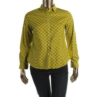 Jones New York Womens Petites Classics Printed Fitted Button-Down Top - pl