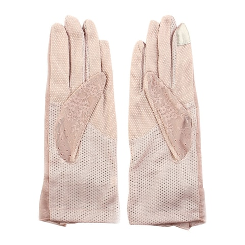 Outdoor Travel Hiking Floral Lace Decor Wrist Length Full Finger Sun Resistant Gloves Pair for Women - Pink