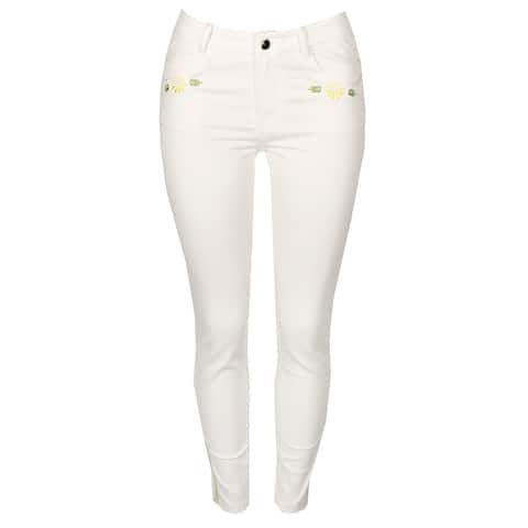 Cynthia Rowley Soft White Embroidered Skinny Jeans