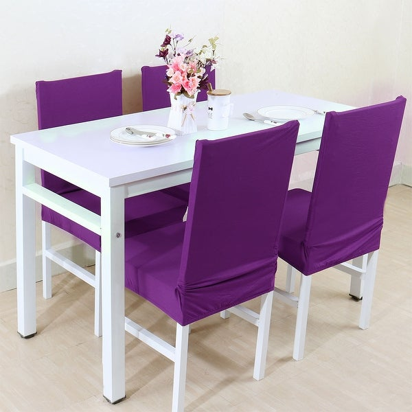 Unique Bargains Purple Spandex Removable Short Dining Chair Cover