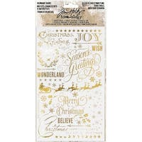 "Idea-Ology Remnant Rubs Rub-Ons 4.75""X7.75"" 2/Pkg-Gilded Christmas, 1 Gold & 1 Silver"