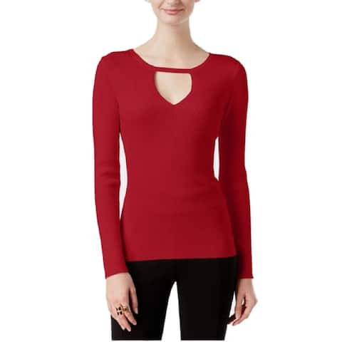 INC International Concepts Petites Keyhole Sweater Real Red P/XL - X-Large Petite