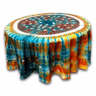 "Handmade 100% Cotton Bandhani Tie Dye Mandala Tablecloth 76"" Round Multicolor"