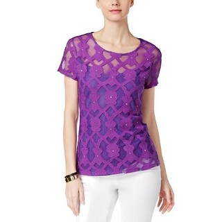 INC International Concepts Embellished Embroidered Top Blouse - l
