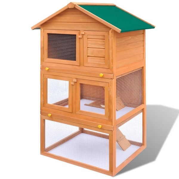 vidaXL Outdoor Rabbit Hutch Small Animal House Pet Cage 3 Layers Wood. Opens flyout.