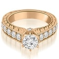 1.80 cttw. 14K Rose Gold Antique Cathedral Round Cut Diamond Engagement Ring - Thumbnail 0