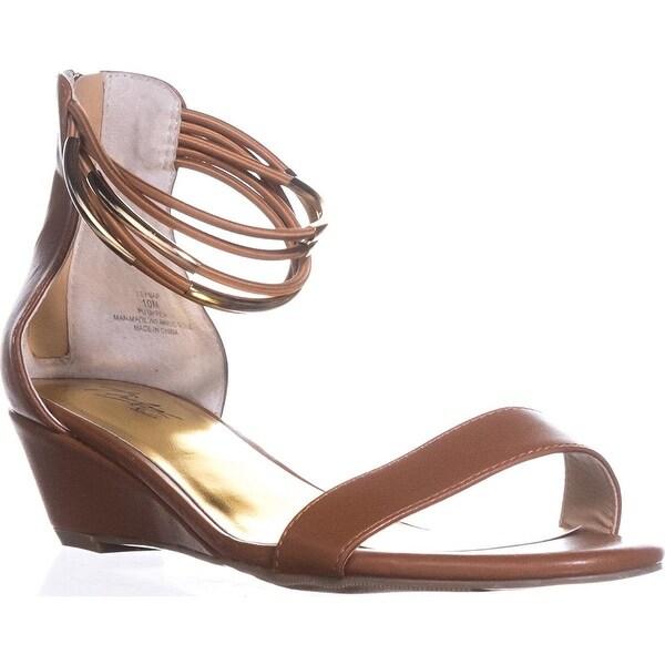 Thalia TS35 Areyana Ankle-Strap Wedge Sandals - Cognac, Cognac, Size 10.0 - 10