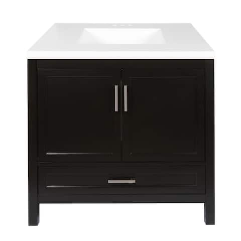 Salerno 37 in. Bath Vanity Set with Cultured Marble Top