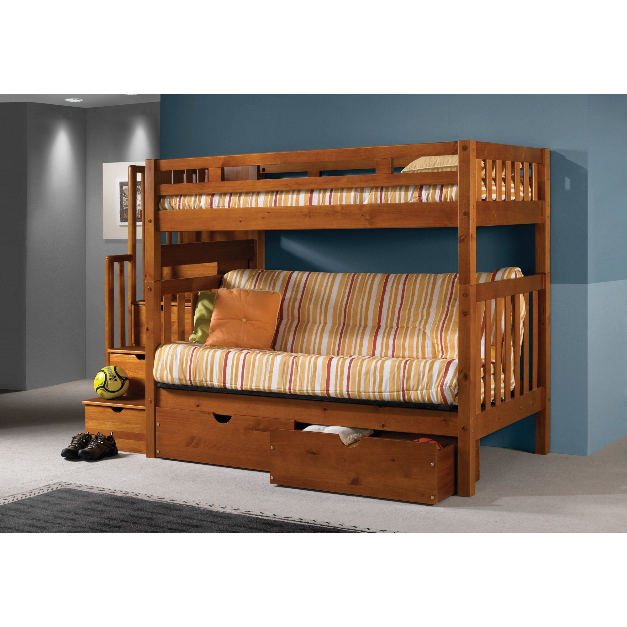 Donco Kids Tall Twin Over Futon Mission Stairway Honey Bunk Bed With Storage Drawers Overstock 12073846