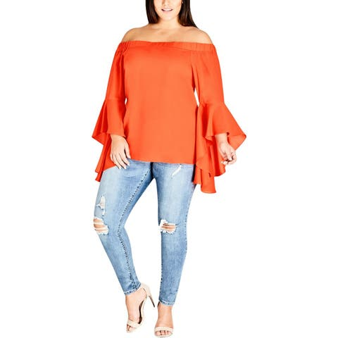 City Chic Womens Plus Romantic Casual Top Off-The-Shoulder Ruffled Sleeves