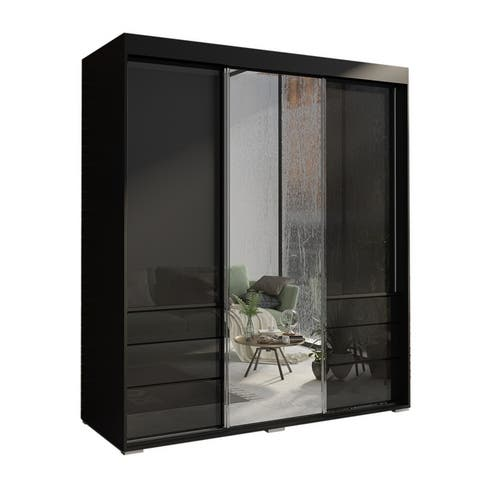 "Monaco 3 Door Modern 71"" Wardrobe with Mirror"